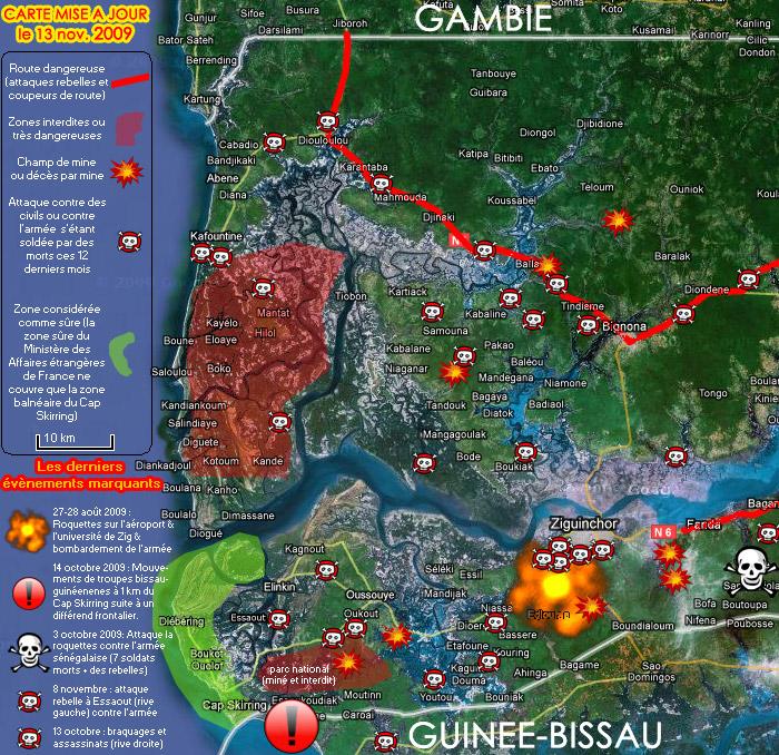 Carte de l'insécurité en Casamance